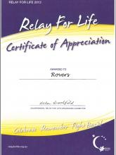 Tasmanian Rovers provided service at the 2013 Relay for Life in Hobart.